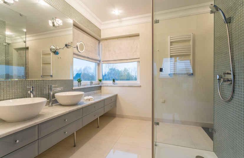 Vouwgordijn badkamer