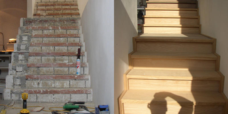 Voor & na foto betonnen trapbekleding