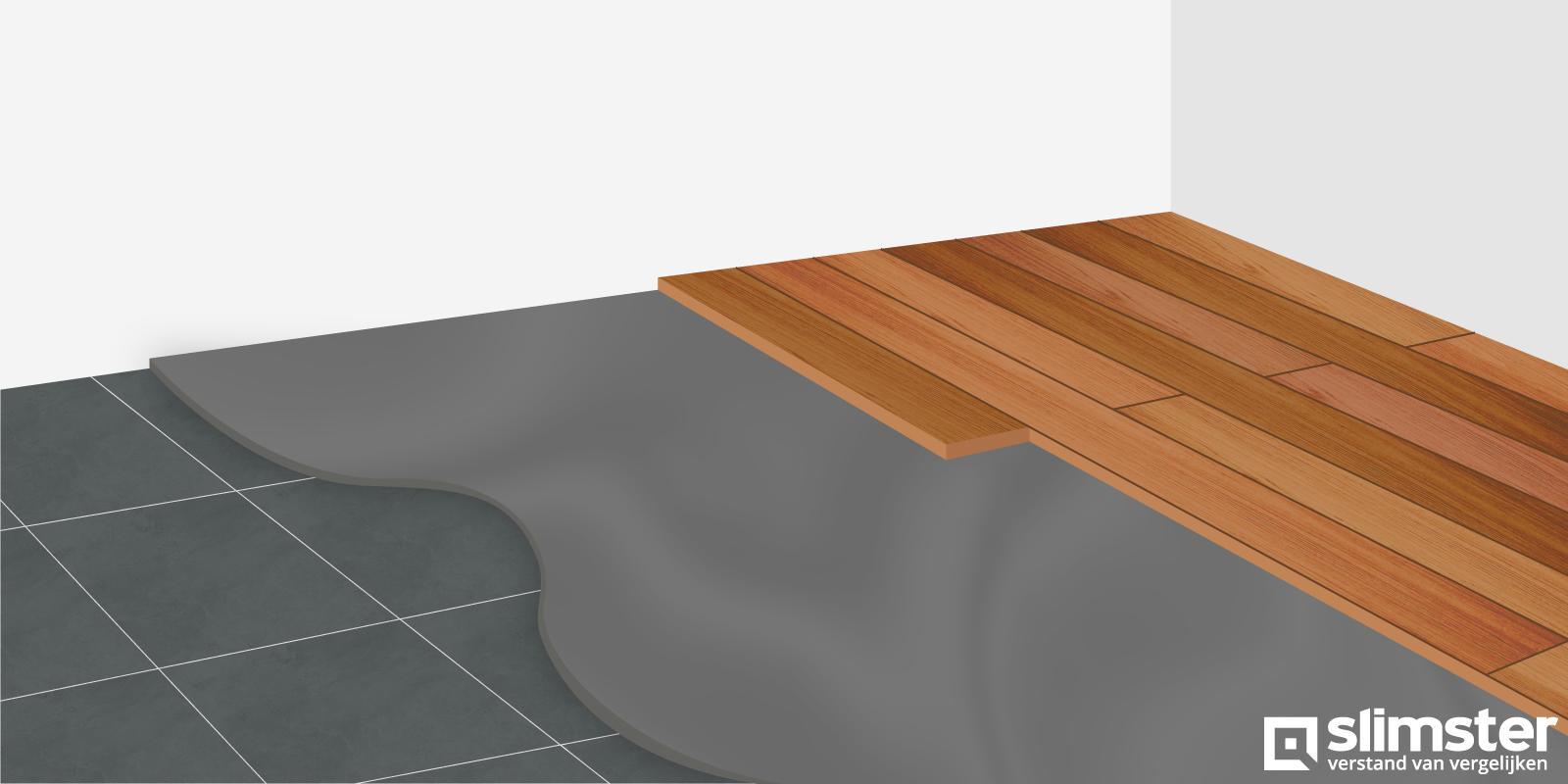houten vloer over tegels