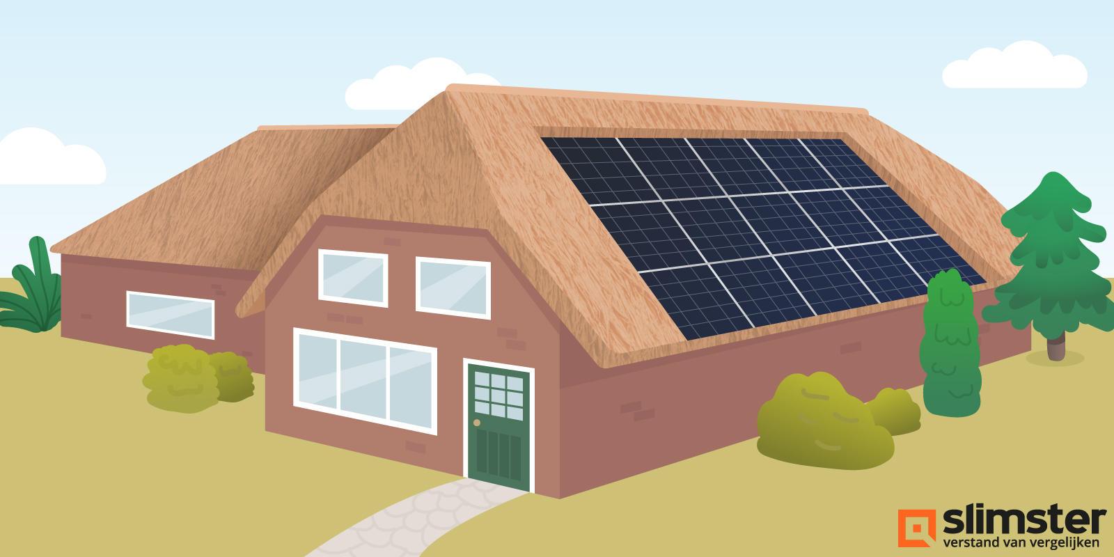 zonnepanelen in rieten dak