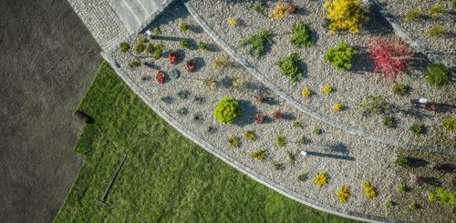 Kleine tuin met ronde vorm